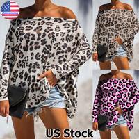 Women Leopard Batwing Long Sleeve Tops Shirt Ladies Off Shoulder Loose Blouse US