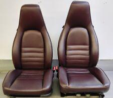 VERY NICE PAIR OF GENUINE PORSCHE 911 930 BURGUNDY LEATHER COMFORT BUCKET SEATS
