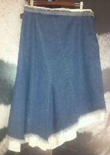 Below Knee Denim Solid Regular Size Skirts for Women