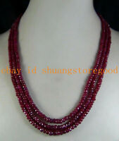 """Natural 2x4mm Natural Ruby Faceted Beads Necklace 3 Strand 17""""-19""""AAA+"""