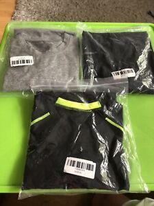 3 x Large Grey Black Mens Compression Base Layer Top Long Sleeve Sports Shirt