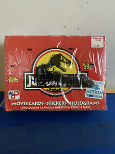 1992 Topps Wax Box Jurassic Park Movie Cards Stickers Holograms 36 Ct. Box