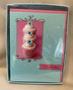 Cupcake theme THANK YOU NOTES and envelopes 10 Ct NEW