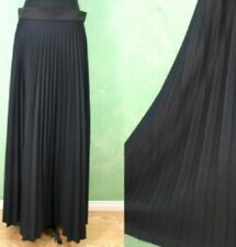 VTG skirt maxi gown sweeping black pleated goth steampunk halloween costume L