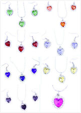 Super lovely crystal heart necklace, or earrings, or set multiple choices