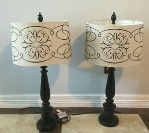 Set Of 2 Lamps Scroll Design Oatmeal Tall Linen Drum Modern Neutral Fabric shade