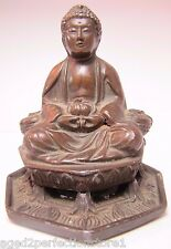Antique G.C.K. & Co Asian Buddha Incense Burner ornate details bronze wash rare