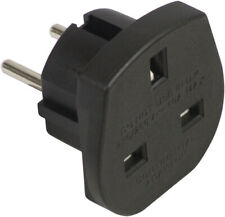 BLACK UK - EU Euro Europe European Travel Adaptor Plug 2 Pin Adapter CE Approved