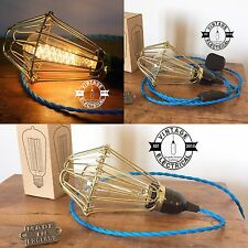 HEMSBY CAGE INDUSTRIAL TABLE LIGHT DESK BEDSIDE LAMP FABRIC CABLE + BULB UK