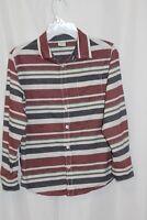 Gymboree Boys Shirt 7-8 Red White Blue Stripe Long Sleeve button Up Cotton
