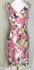 Adrianna Papell 12 Womens Dress Floral Pink Green Sleeveless V-Neck Pink Green