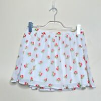 Abercrombie & Fitch Womens White Red Floral Chiffon Lined Mini Skirt Size Small