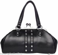 78083 Black Studded Dollface Vinyl Purse Sourpuss Punk Biker Retro Rockabilly