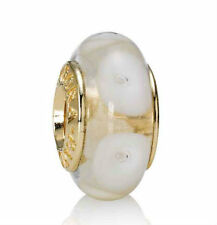 NEW! Authentic Pandora 14K Gold White Mystic Murano Glass Charm #750406 w/Box