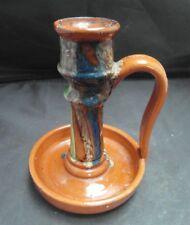 Vintage Belgium Slip ware Arts and Craft  pottery Chamber Stick
