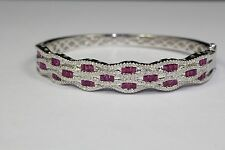 14K White Gold Round WhiteDiamond And Baguette Red Ruby Cuff Bracelet 6 Inches