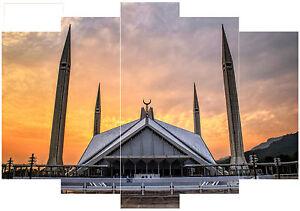 "Large 5 Panel Islamic Canvas Faisal Mosque Pakistan 36""x56"" Allah Islam Muhammad"