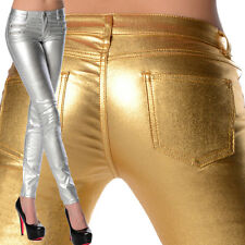 Sexy Stretchy Women's Silver / Gold Jeans Trousers Skinny Slim Metallic G 114