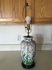 Vintage Hand Painted Wood Base Table Lamp