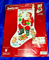 STOCKING KIT Janlynn Counted Cross Stitch Christmas SANTA & ANIMALS #023-0210