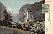LAUTERBRUNNEN SWITZERLAND TO CANADA SMALL TOWN WATERFALL POSTCARD EXCHANGE 1905