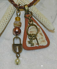 LOVELY SEA GLASS/POTTERY/TILES NECKLACE! SURF TUMBLED! SCOTLAND! Terra Cotta
