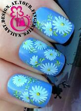 NAIL ART WRAP WATER TRANSFERS STICKERS DECALS SET WHITE SUMMER CUTE DAISIES #286