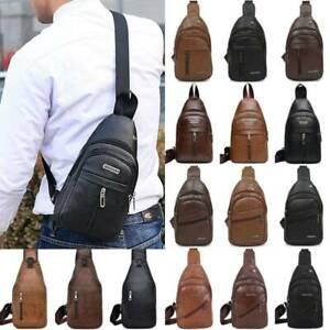 Mens Boy Sling Chest Bag Leather Cross Body Shoulder Bags Sports Outdoor Handbag