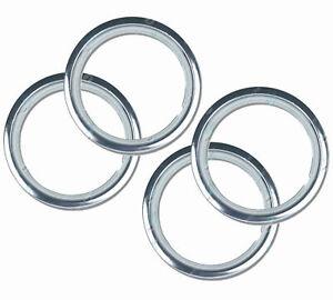 "15"" Premium Metal Wheel Trim Rings NEW SET OF 4 Chrome Plated Band Car Trailer"