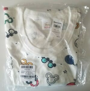 NWT Hanna Andersson Organic Pajama Top Women's S DISNEY MICKEY MOUSE WHITE