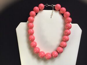 Women's Chunky Coral Pink Bead Choker Necklace