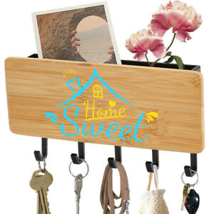 Nature Wooden Key Holder Mail Rack Wall Mount 5 Hooks Organizer Home Sweet Home