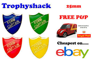 Form Captain Shield Enamel Badges - Free P&P 4 colours Red Blue Green Yellow