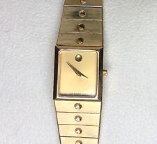 Ladies Vintage Gold Tone Square  MOVADO SE  Gold Dial Swiss Quartz Watch