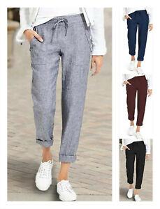 UK Summer Women Cotton Linen Baggy Harem Ladies Trousers Loose Pants Plus Size
