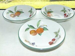 Royal Worcester Porcelain Evesham Vale 3 x Cereal Bowls 16.5cm