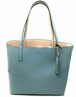 NWT Kate Spade Lakeland Marina Reversible Blue/ Beige Leather Tote WKRU5342 $299