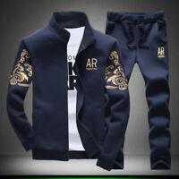 New 2Pcs/set Men Track Suit Sweat Hoodies Jacket Coat + Long Pants M-5XL Casual