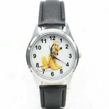Pluto Cartoon Character Black Leather Band Wrist Watch
