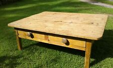 Antique Victorian Pine Kitchen Table Professionally Converted to Coffee Table
