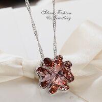 18K White Gold Filled Made With Swarovski Element 4 Leaf Clover Heart Necklace