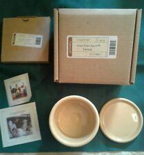 Longaberger Pottery Butternut Yellow Salt Candle Holder Crock 1 Pint Lid Coaster