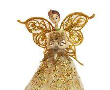Gold Vintage Lace Angel Fairy Christmas Festive Tree Topper Gisela Graham Cream
