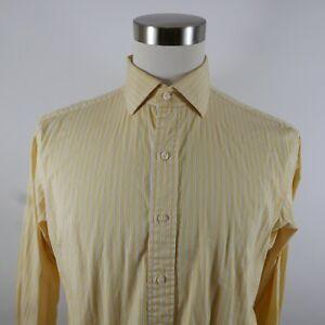 Polo Ralph Lauren Mens Regent Classic Fit LS Button Up Yellow Striped Shirt 16.5