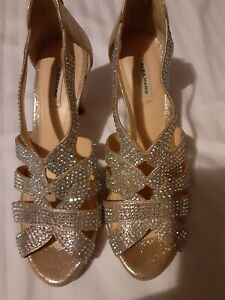 ALEX MARIE  WOMENS SIZE 10M BLING BEADED Gold SLING BACK Wedding Crystal