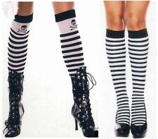 Women Striped Socks Pirate Goth Knee or Tall Skull Bones Music Legs 5741 4795