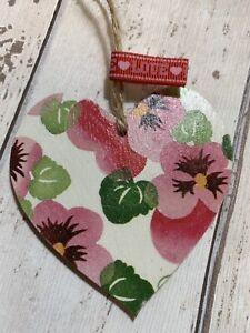 Wooden Heart 8cm Using Emma Bridgewater New Pink Pansy  Tag Keepsake Gift