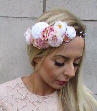 White Blush Light Pink Rose Berry Flower Headband Hair Crown Bridal Tiara 5373