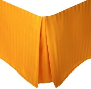 Queen Orange Superior 1500 Series Pleated Striped Brushed Microfiber Bed Skirt