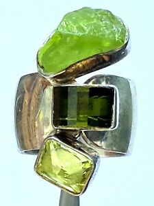 Lilly Barrack Green Stone Southwestern Ladies Ring Sterling Size 6.5 Adjustable